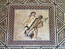 Bacco sorretto da un compagno, mosaico, Museo Romano-Germanico di Colonia
