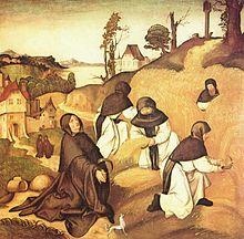 Monaci cistercensi al lavoro nei campi (dalle scene della vita di san Bernardo)