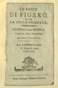 Copertina del Libretto del 1786