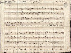 Il compito di Mozart, 1770, Accademia Filarmonica di Bologna