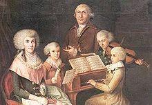 Mozart (al clavicembalo) e Thomas Linley (con il violino), 1770